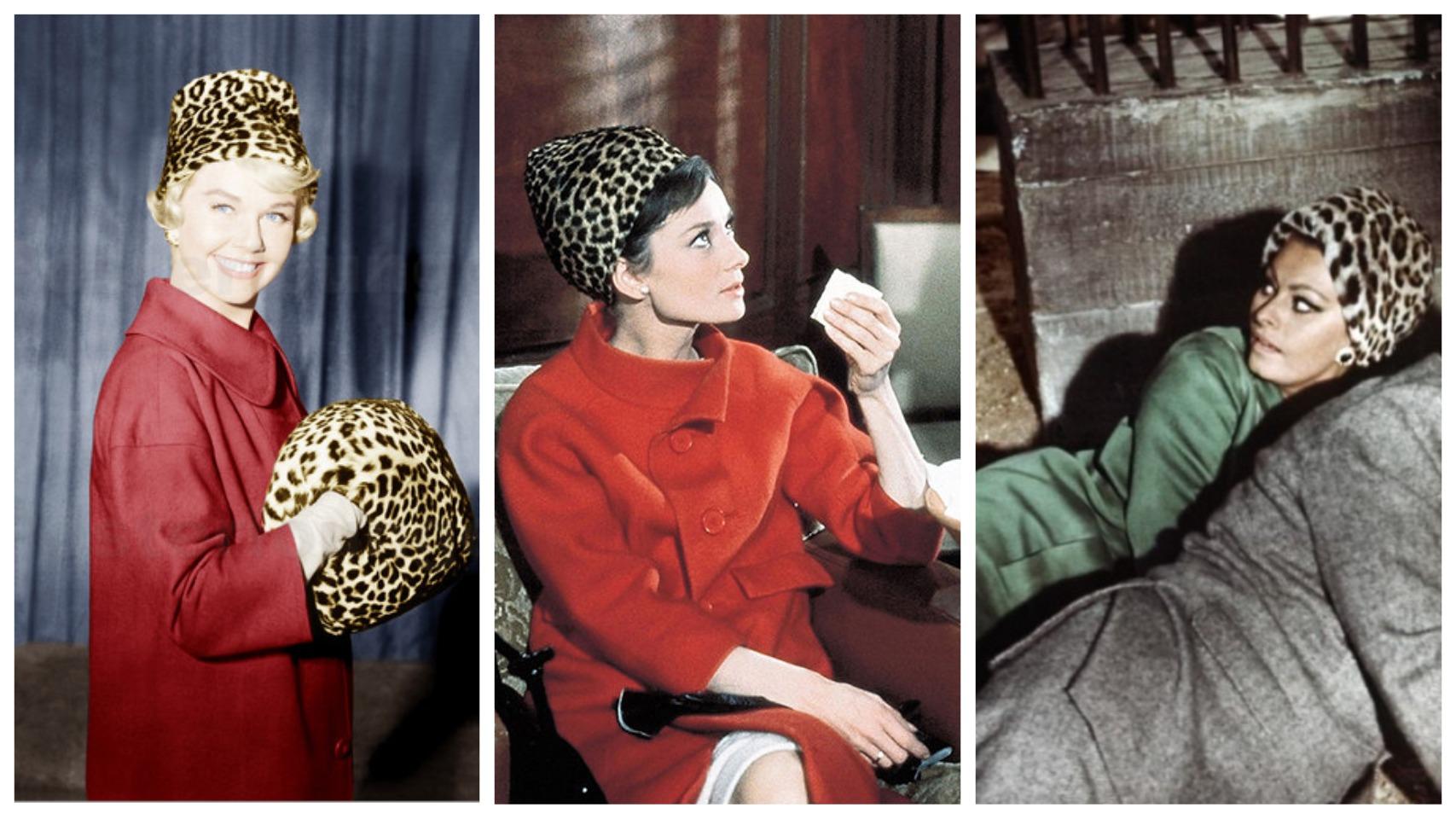 Слева направо - Дорис Дэй в фильме Телефон пополам (1959), Одри Хепберн в фильме Шарада (1963), Софи Лорен в фильме Арабеска (1966)