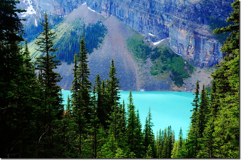 Looking onto Lake Louise from Lake Agnes Teahouse trail 1