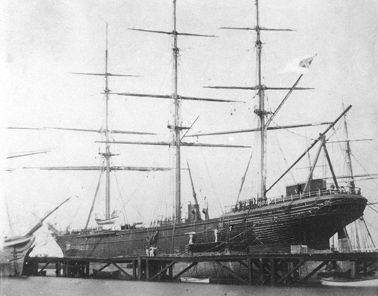 CSS Shenandoah in dry dock in Williamstown, Victoria, Australia, 1865. From the public domain U.S. Naval Historical Center.