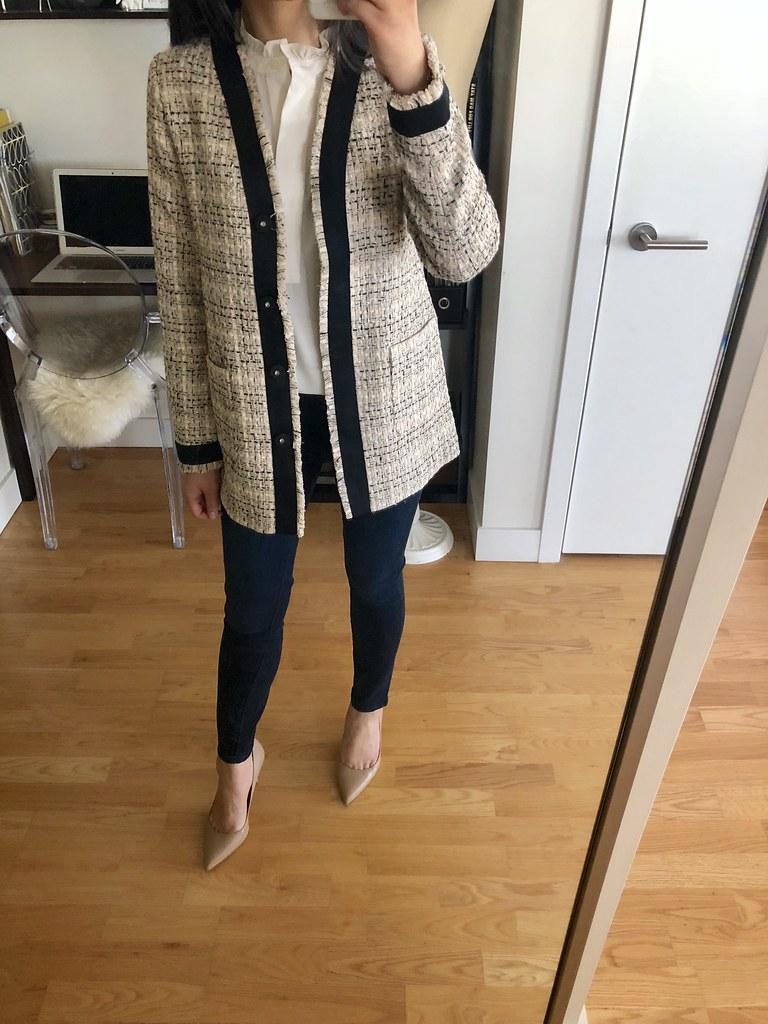 Ann Taylor Framed Fringe Tweed Jacket, size XXSP