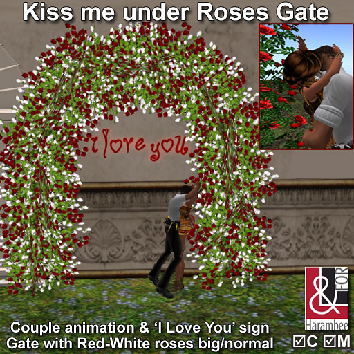 Kiss me under  Red-White roses Gate