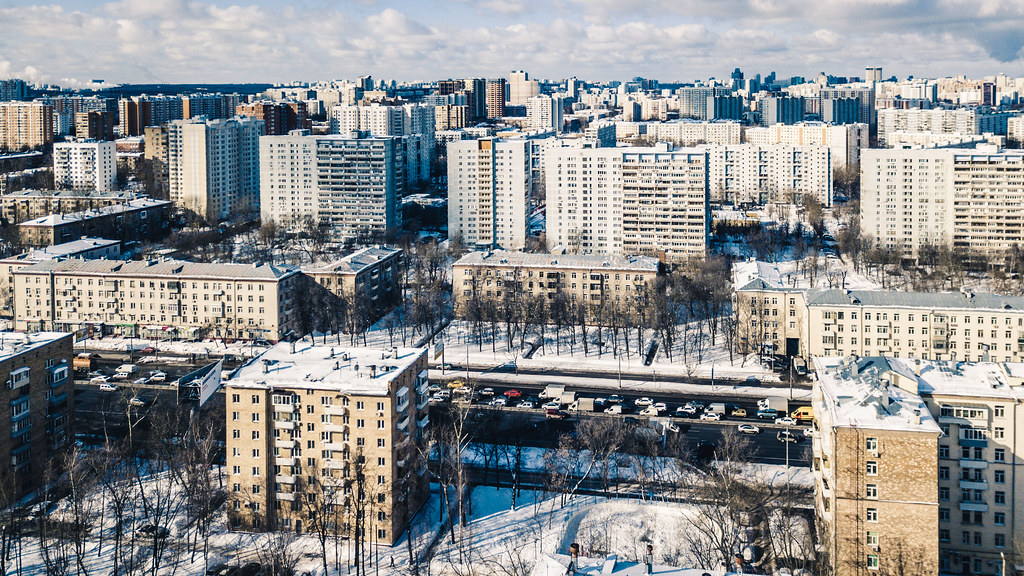 Aerial view of houses in a city on a winter day