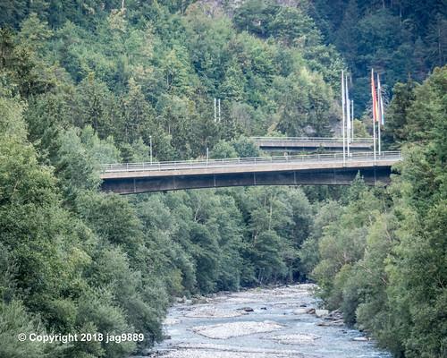 RHE170 Schinstrasse Road Bridge over the Hinterrhein River, Sils im Domleschg - Thusis, Canton of Graubünden, Switzerland