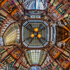 Image by NoVice87 (92110231@N03) and image name Leadenhall photo  about Another play with the fisheye lens but this time I've filled in the corners with a bit of copy'n'paste. Looking up at the roof of Leadenhall Market in the City of London.