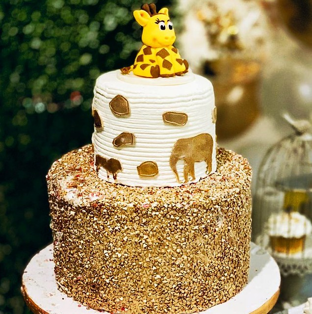 Gold Baby Shower Cake by Monti's Desserts