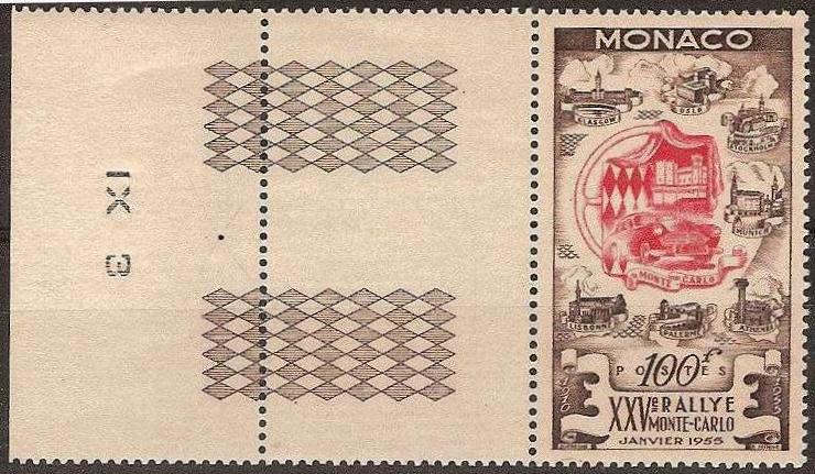 Monaco - Scott #333 (1955) with sheet margin
