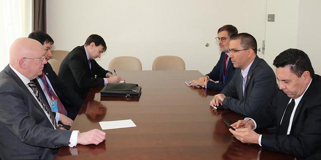 Canciller Arreaza realiza encuentro bilateral con Embajador de Rusia ante la ONU