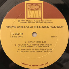 MARVIN GAYE:LIVE AT THE LONDON PALLADIUM(LABEL SIDE-A)