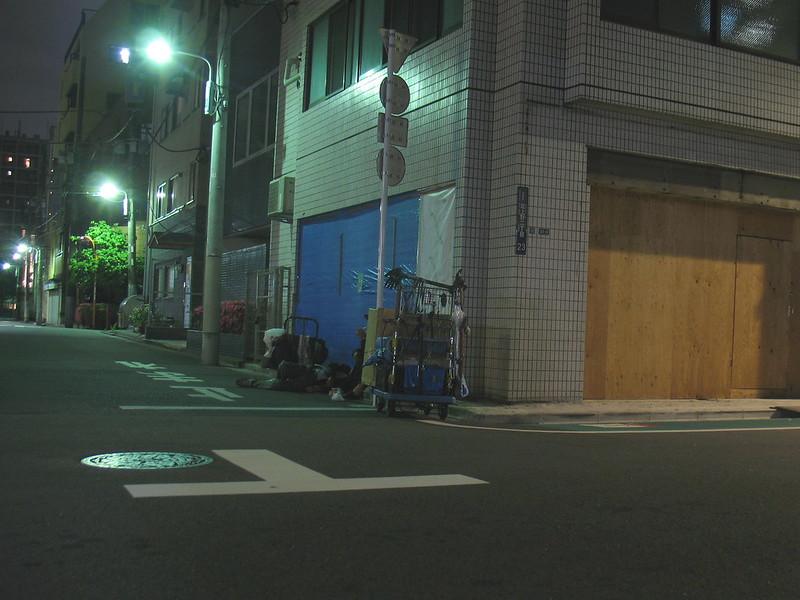 Rest on the street, night