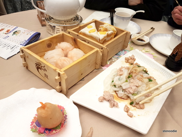 Steamed Shrimp Dumplings (Har Gow), Thousand Layer Cake, Steamed Chicken Rice Rolls