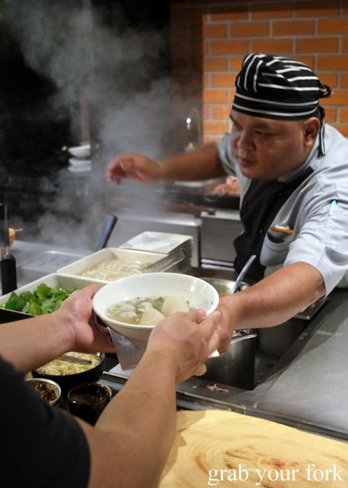 Noodle soup station in the dining room at La Vela Hotel Resort in Khao Lak, Thailand