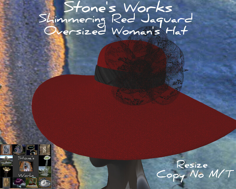 Valentine's Red Jaquard Lrg Brim Hat Stone's Works