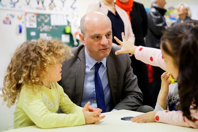 Apprentissage des fondamentaux: déplacement de Jean Michel Blanquer dans une école maternelle de Lyon