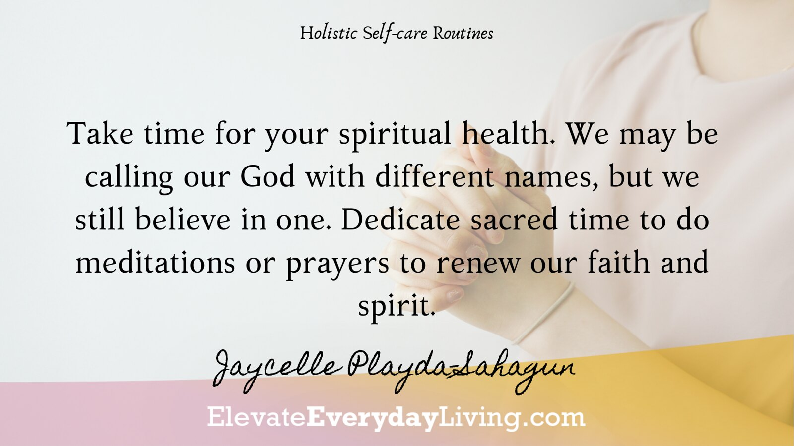 Take time for your spiritual health