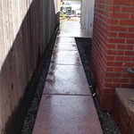 Salt finish side yard walkway with color.
